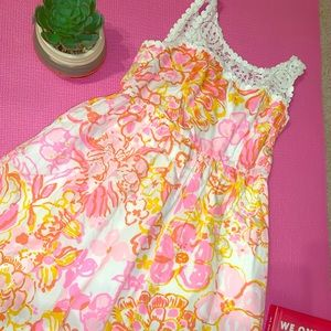 ORANGE AND PINK FORAL LILY PULIZTER DRESS